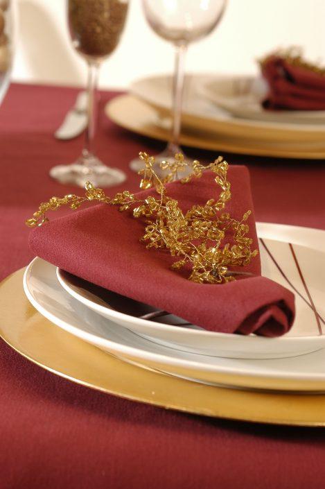 Burgundy table linen