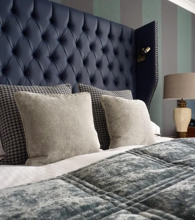 Grey leather bed headboard